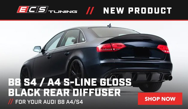 Audi- New ECS Audi B8 S4 / A4 S-Line Gloss Black Rear Diffuser