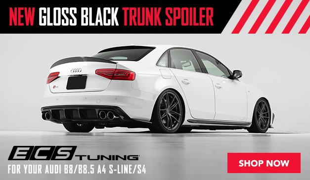 New ECS B8 A4 S-Line/S4 Gloss Black Trunk Spoiler