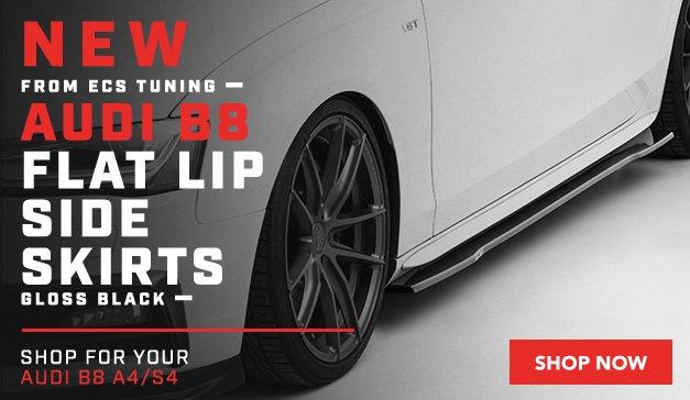 Audi - New ECS Audi B8 Flat Lip Side Skirts - Gloss Black