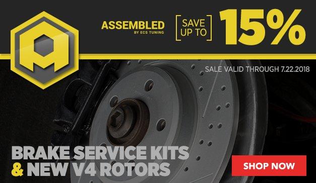 Assembled By ECS Brake Service Kits and New V4 Rotors Global