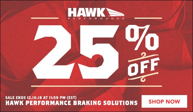 25% Off ALL HAWK Performance Braking Products