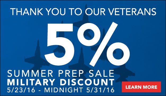 5% Military Discount | Summer Prep Sale Event