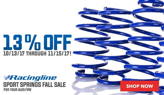 Racingline Sport Springs Fall Sale for your VW/Audi