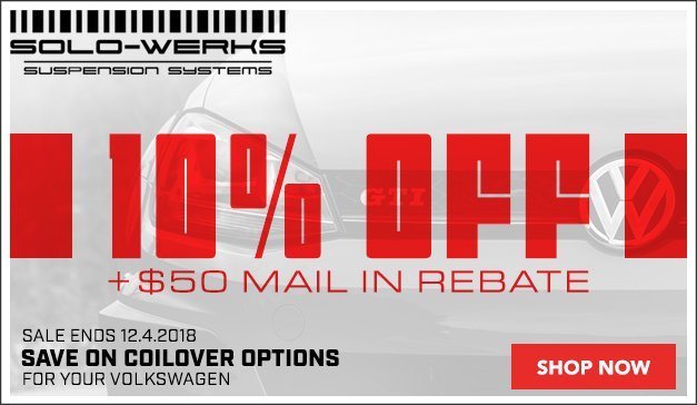VW 10% Off + $50 Mail In Rebate on Solo-Werks