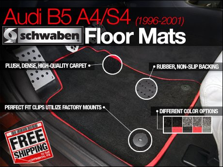 ecs news audi b5 a4 s4 schwaben floor mats. Black Bedroom Furniture Sets. Home Design Ideas