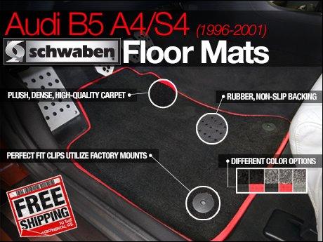 ecs news audi b5 a4 s4 schwaben floor mats. Black Bedroom Furniture Sets. Home Design Ideas