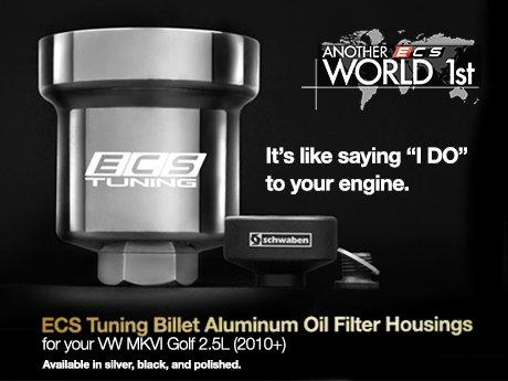ecs news vw mkvi golf  billet aluminum oil filter housings