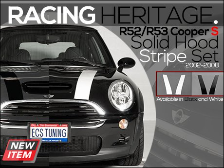 ECS News - R52 R53 Cooper S Solid Hood Stripe Set