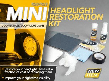 ecs news r50 r53 mini cooper base s jcw headlight. Black Bedroom Furniture Sets. Home Design Ideas