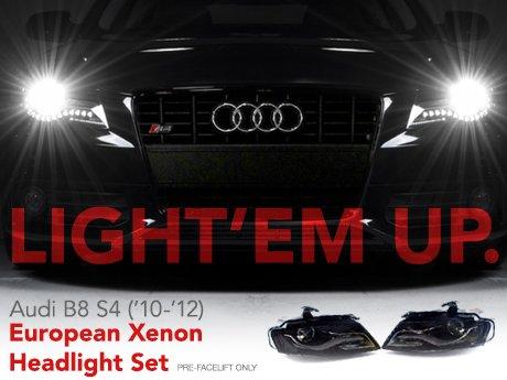 ecs news audi b8 s4 european xenon headlight set. Black Bedroom Furniture Sets. Home Design Ideas