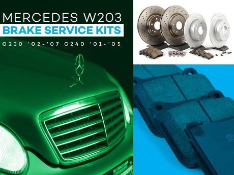 ecs news mercedes benz w203 c class brake service kits. Black Bedroom Furniture Sets. Home Design Ideas