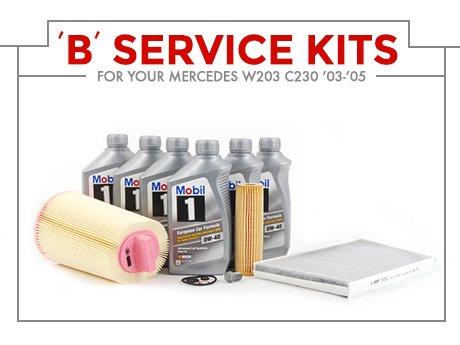 Ecs news mercedes benz w203 c230 39 b 39 service kits for Service b mercedes benz