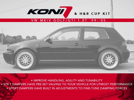 ecs news vw mkiv golf gti 1 8t koni h r cup kits. Black Bedroom Furniture Sets. Home Design Ideas