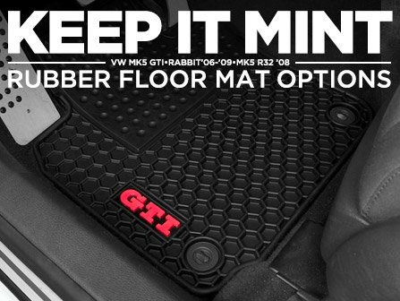 ecs news rubber floor mat options for your mk5 gti rabbit r32. Black Bedroom Furniture Sets. Home Design Ideas