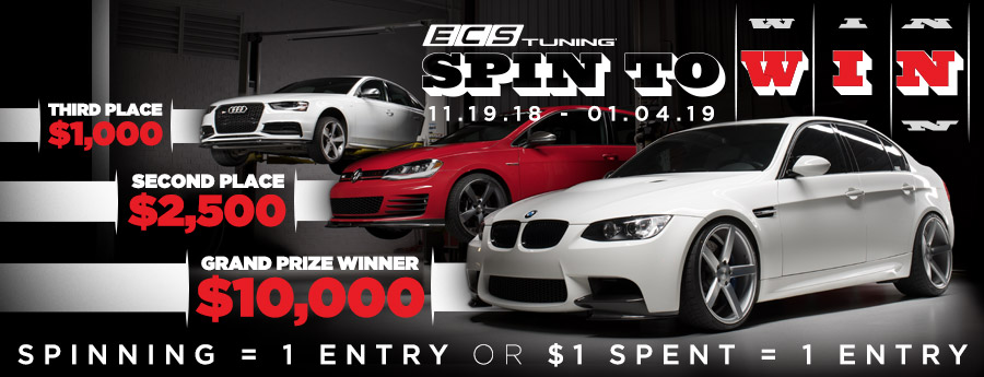 ECS Tuning Spin To Win Sweepstakes! Every spin and every dollar spent is an entry!